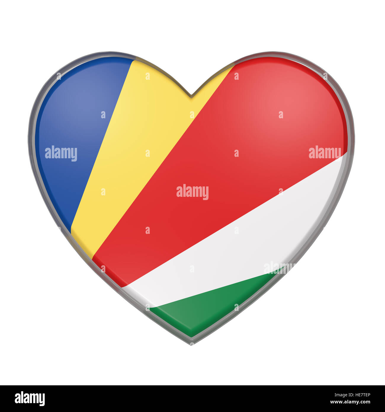 3d rendering of a Seychelles flag on a heart. White background - Stock Image