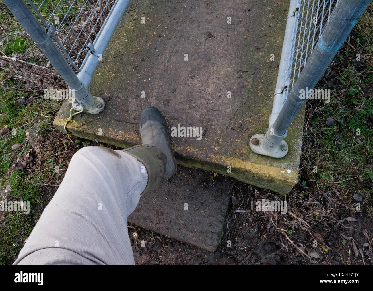 Field walker about to step on a slippery concrete footbridge while holding onto the metal handrails. - Stock Image