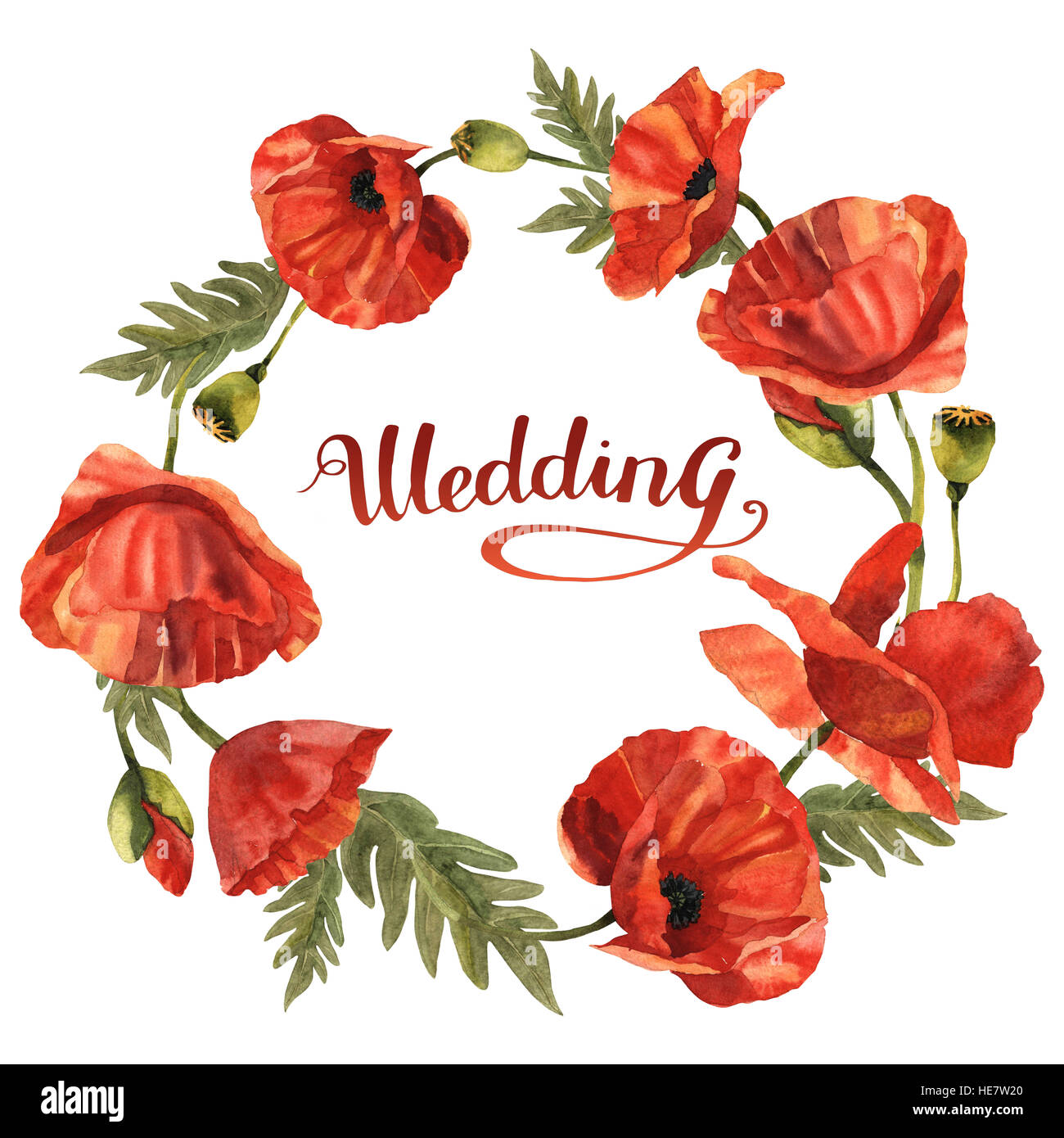 Wildflower Poppy Flower Wreath In A Watercolor Style Isolated Stock
