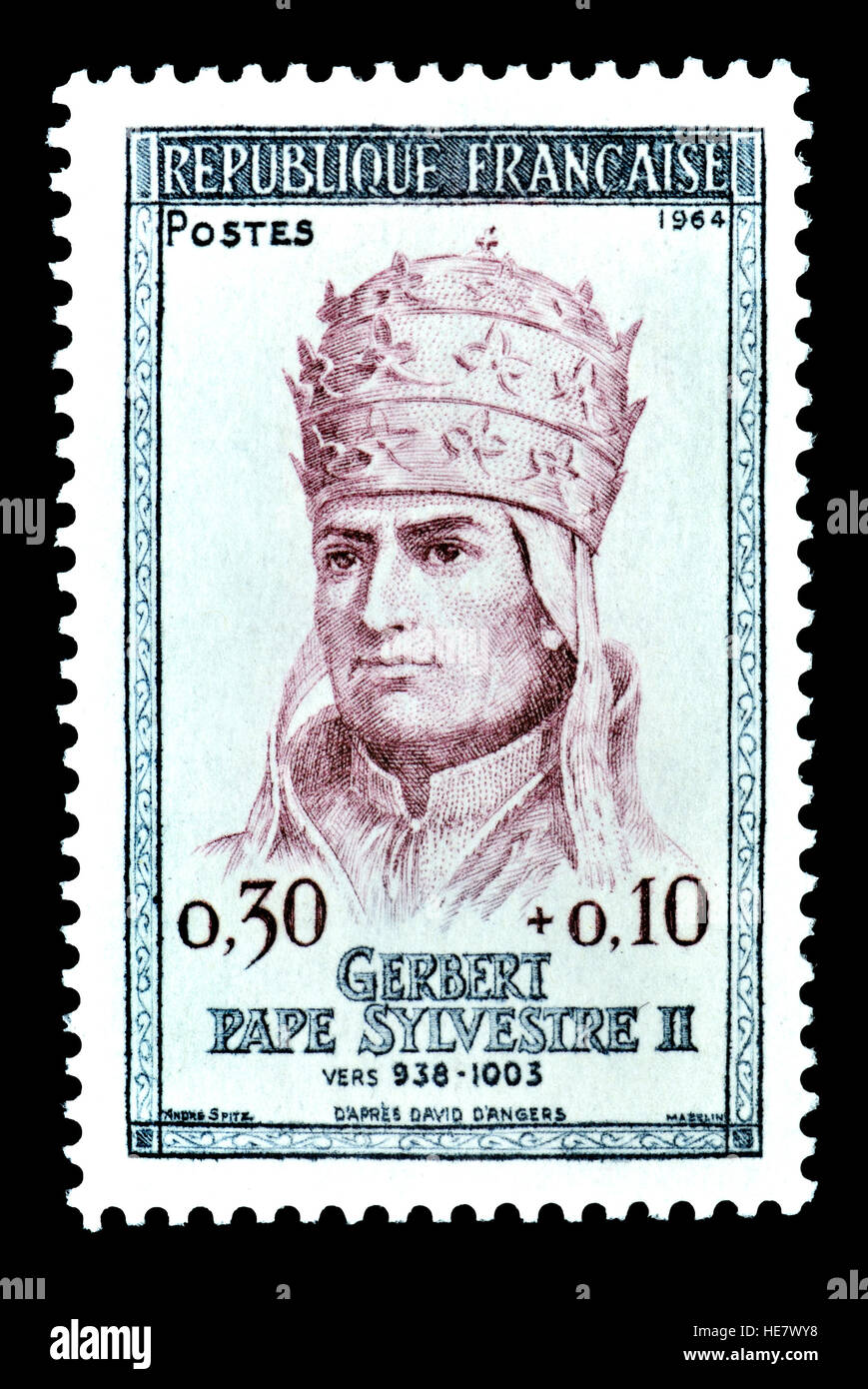 French postage stamp (1964) : Pope Sylvester / Silvester II (c.?948 – 1003) Pope from 2 April 999 to his death in Stock Photo