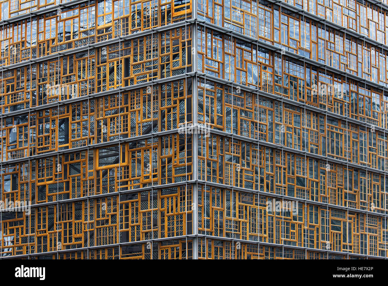Facade of the Europa Building in Brussels, Belgium, designed by Philippe Samyn & Partners. - Stock Image