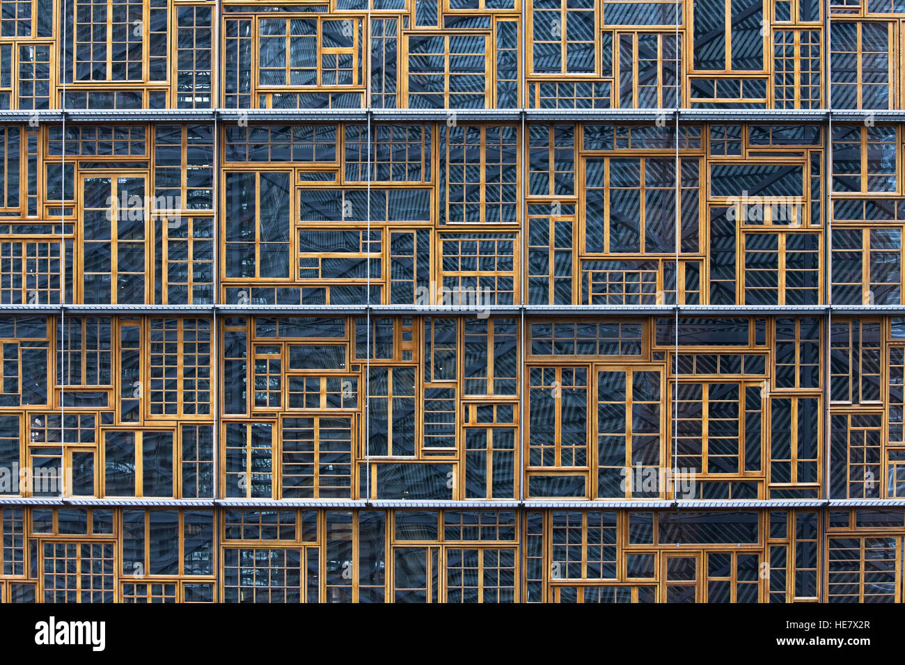 Facade of the Bloc A of the Europa Building, in Brussels, Belgium, designed by Philippe Samyn & Partners. - Stock Image