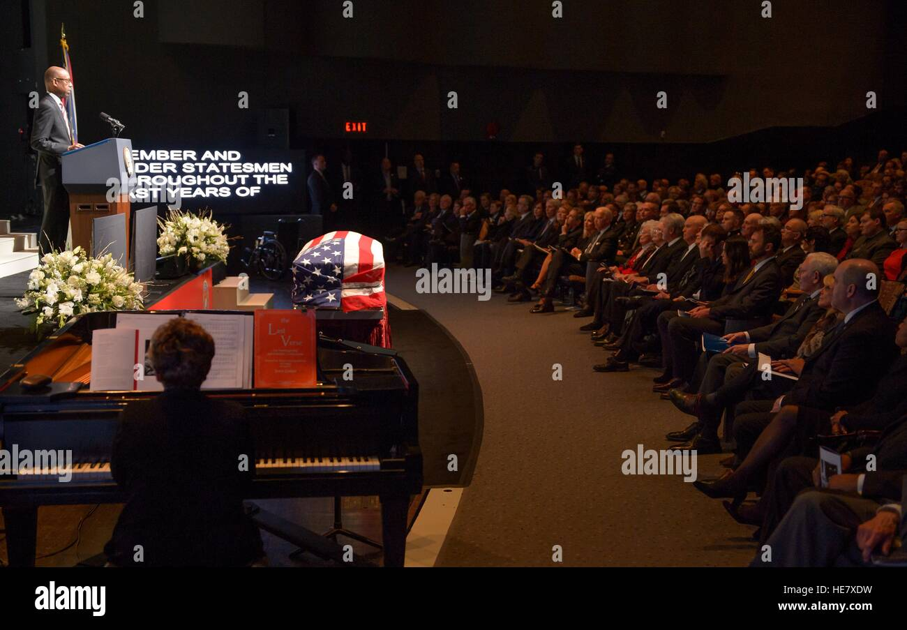 President of The Ohio State University Michael Drake  speaks during a service celebrating the life of former astronaut - Stock Image