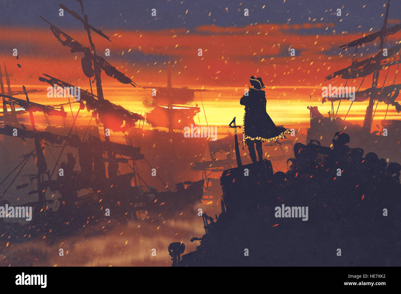 pirate standing on treasure pile against ruined ships at sunset,illustration painting - Stock Image