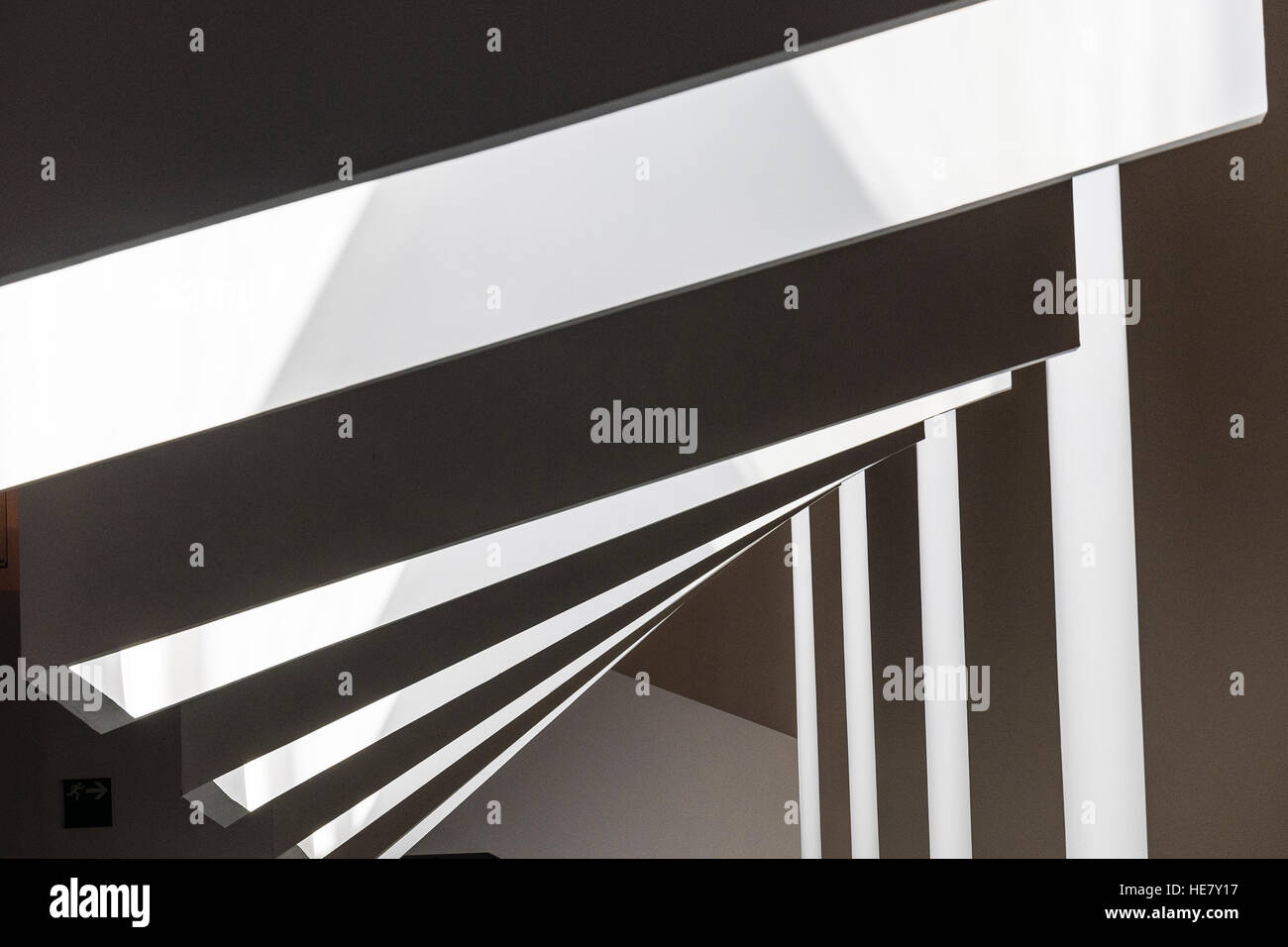 Abstract monochromatic architectural angles inside in Barcelona, Spain. - Stock Image