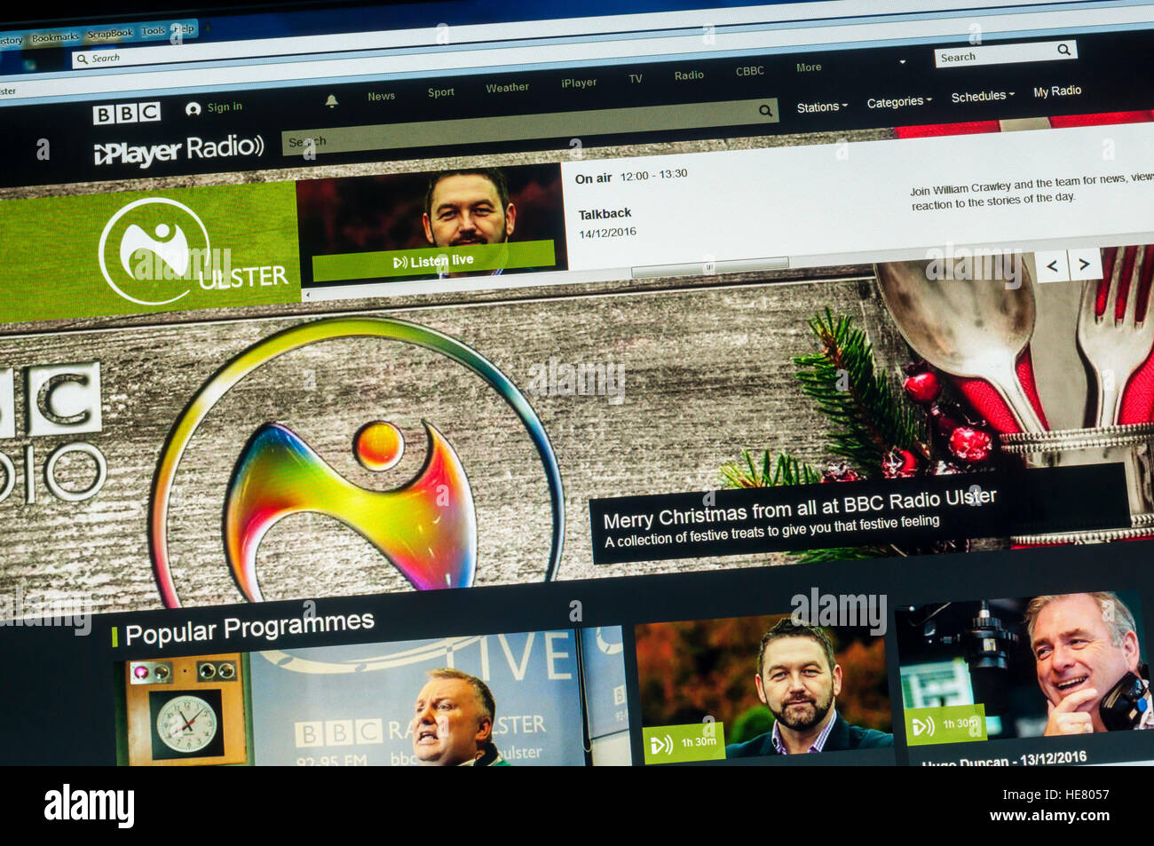 The website of BBC Radio Ulster broadcasting in Northern Ireland. - Stock Image