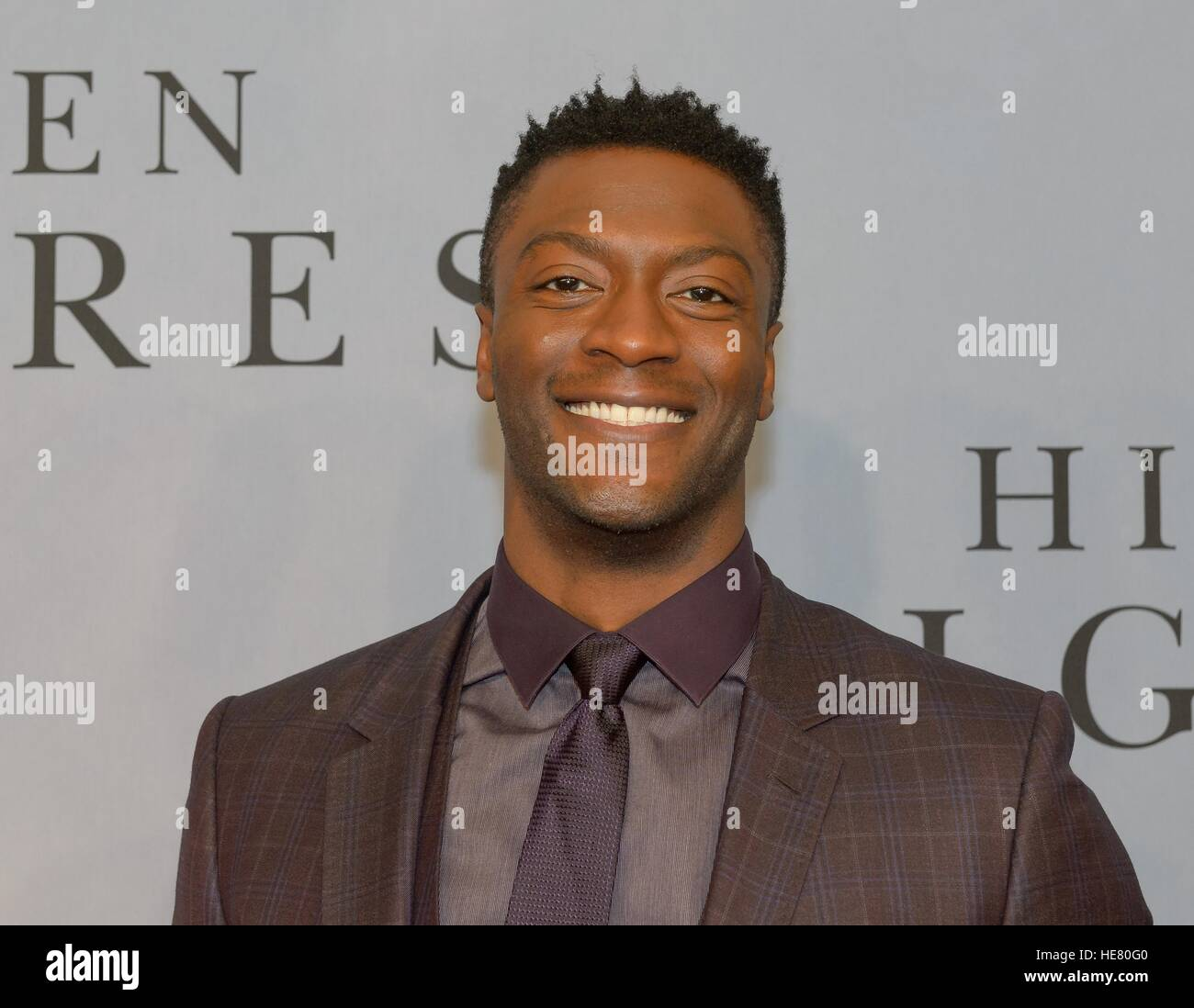 Actor Aldis Hodge walks the red carpet during the global celebration event for the film Hidden Figures at the SVA - Stock Image
