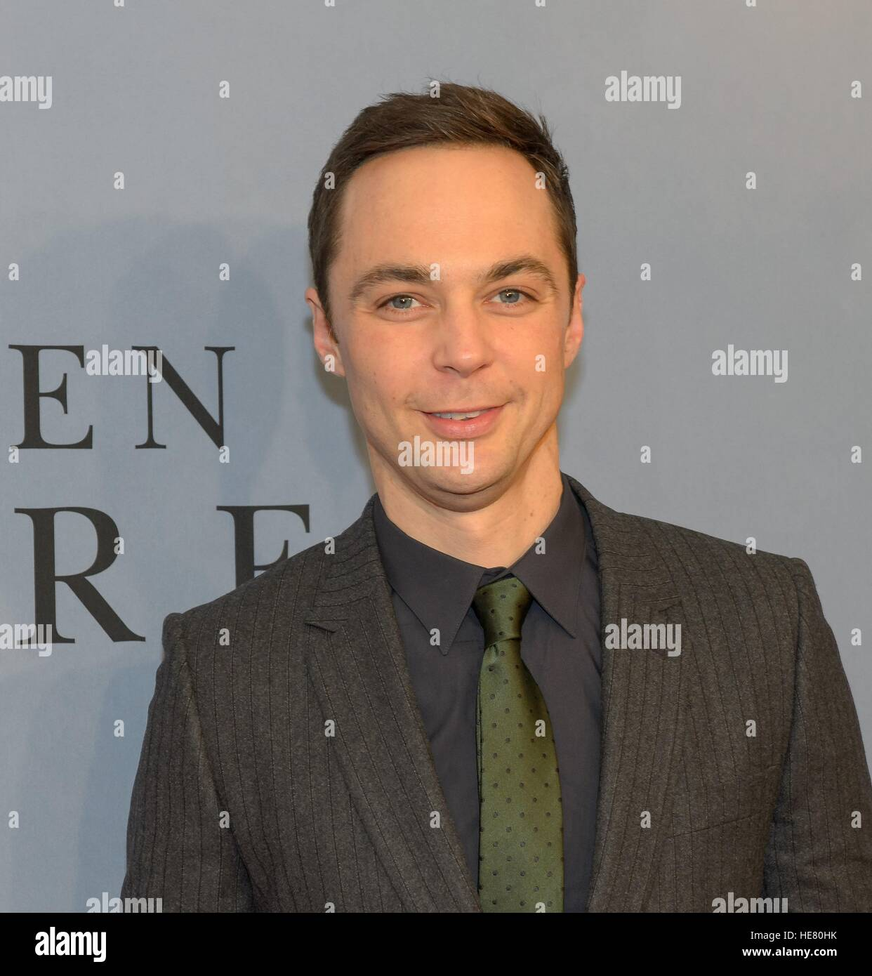 Actor Jim Parsons walks the red carpet during the global celebration event for the film Hidden Figures at the SVA - Stock Image