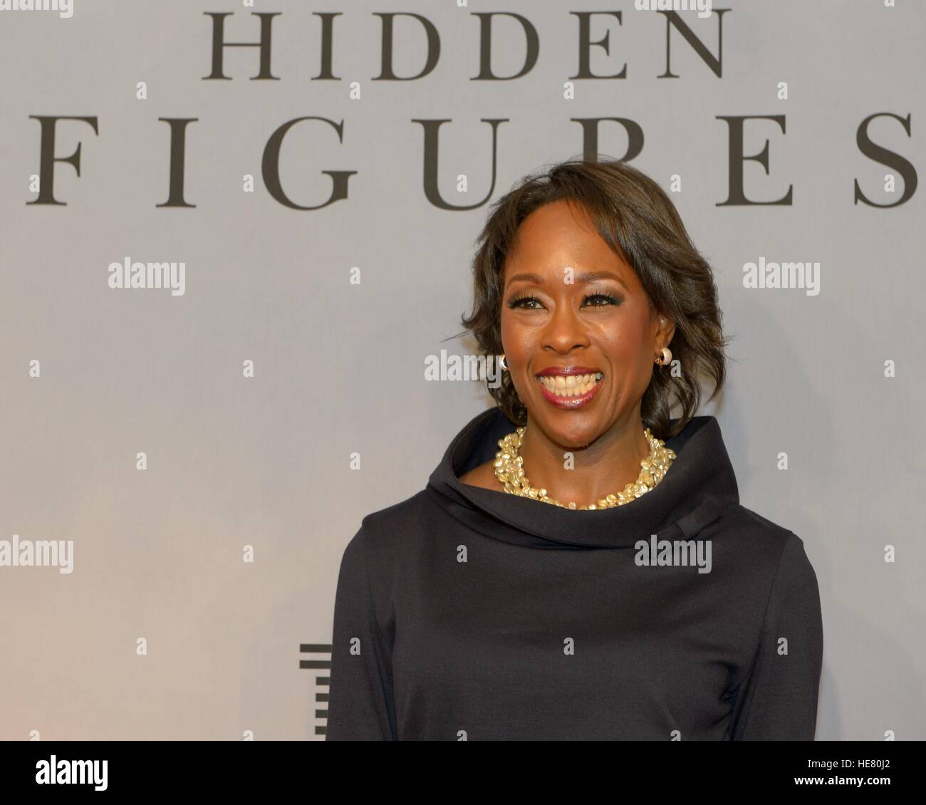 Author Margot Lee Shetterly walks the red carpet during the global celebration event for the film Hidden Figures - Stock Image