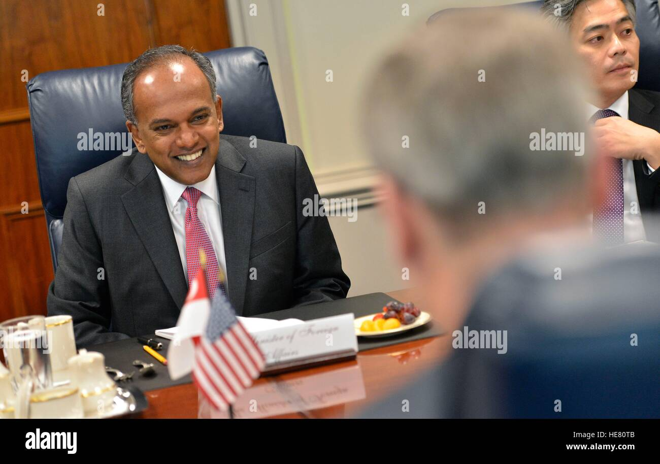 Singaporean Minister of Foreign Affairs and Law K. Shanmugam laughs during a meeting with U.S. Deputy Secretary - Stock Image