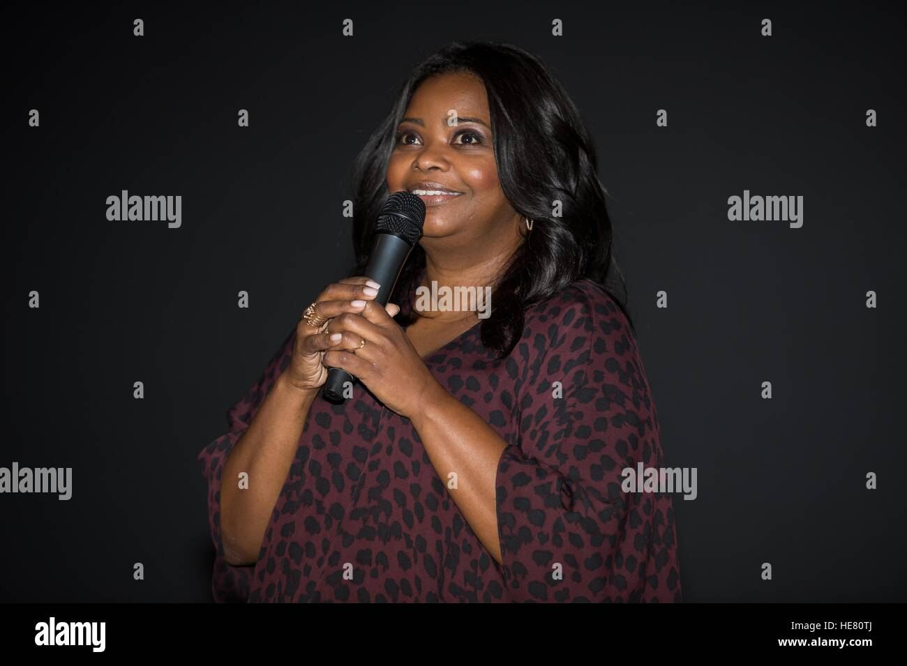 Actress Octavia Spencer speaks at the Hidden Figures film premiere and NASA reception at the Virginia Air and Space - Stock Image