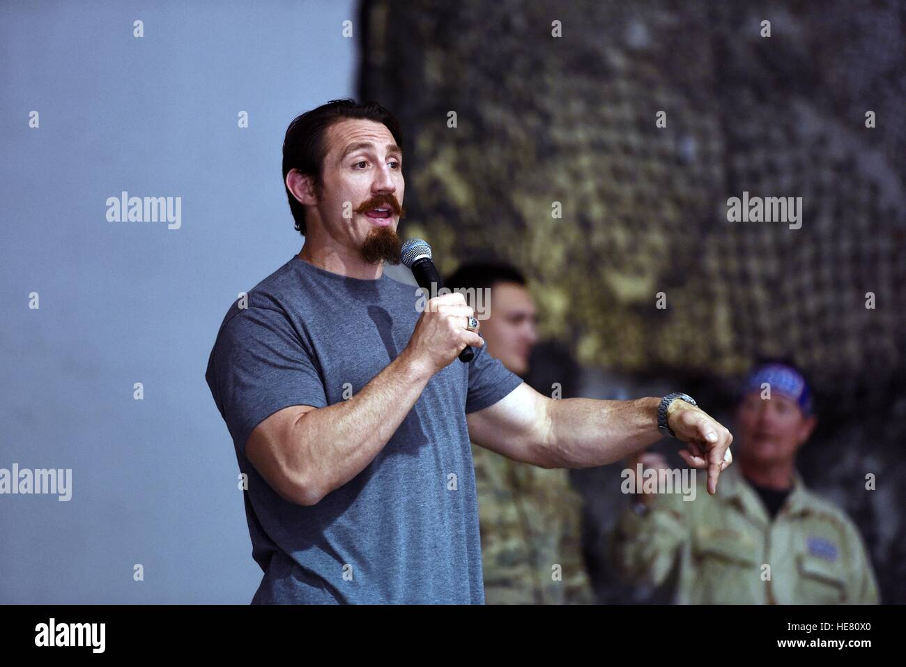 UFC fighter Tim Kennedy performs at the National Guard USO Tour May 19, 2016 in Afghanistan. - Stock Image