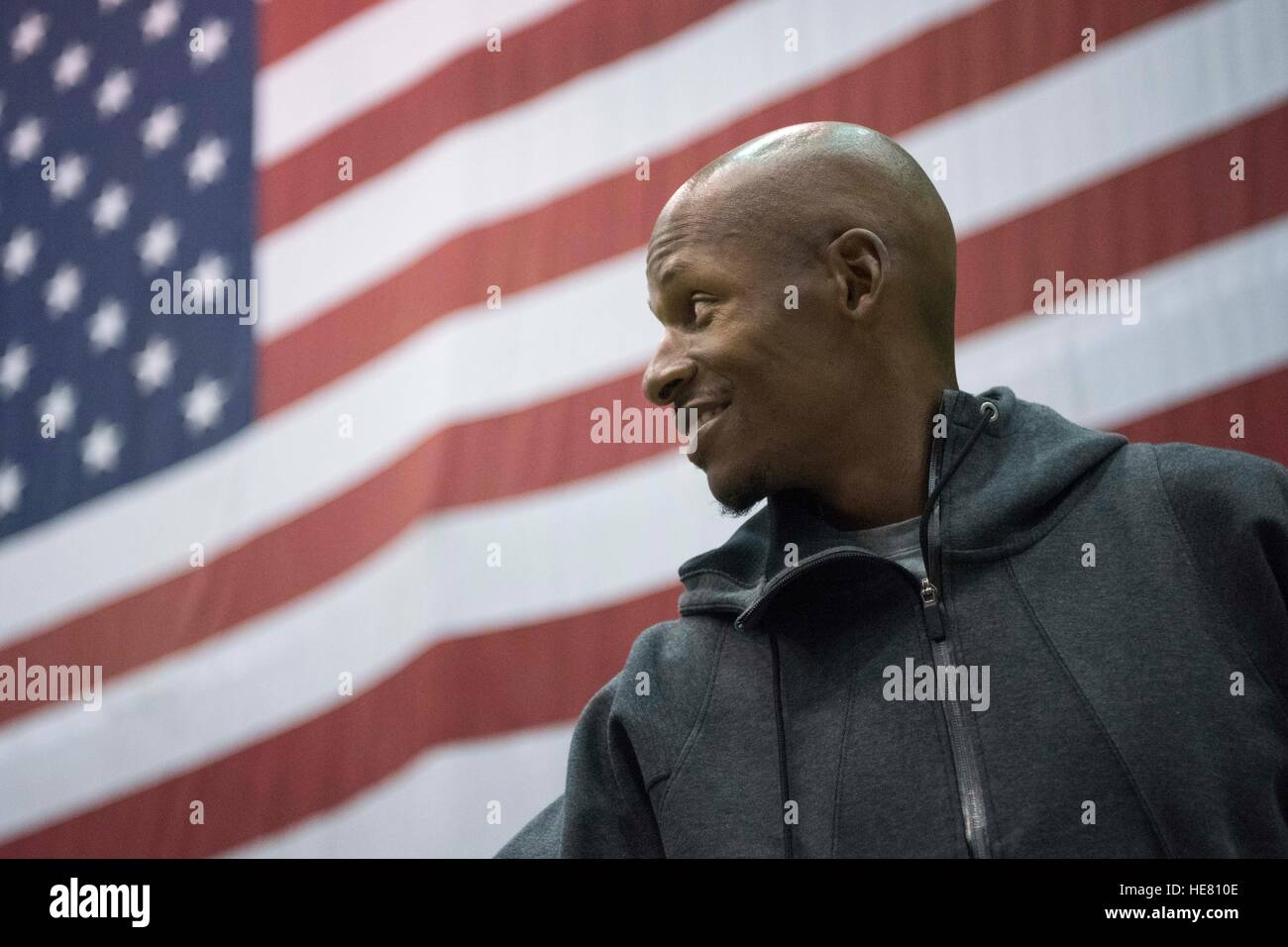 Former professional NBA basketball player Ray Allen speaks to U.S. soldiers during the USO Holiday Tour at the Bagram - Stock Image