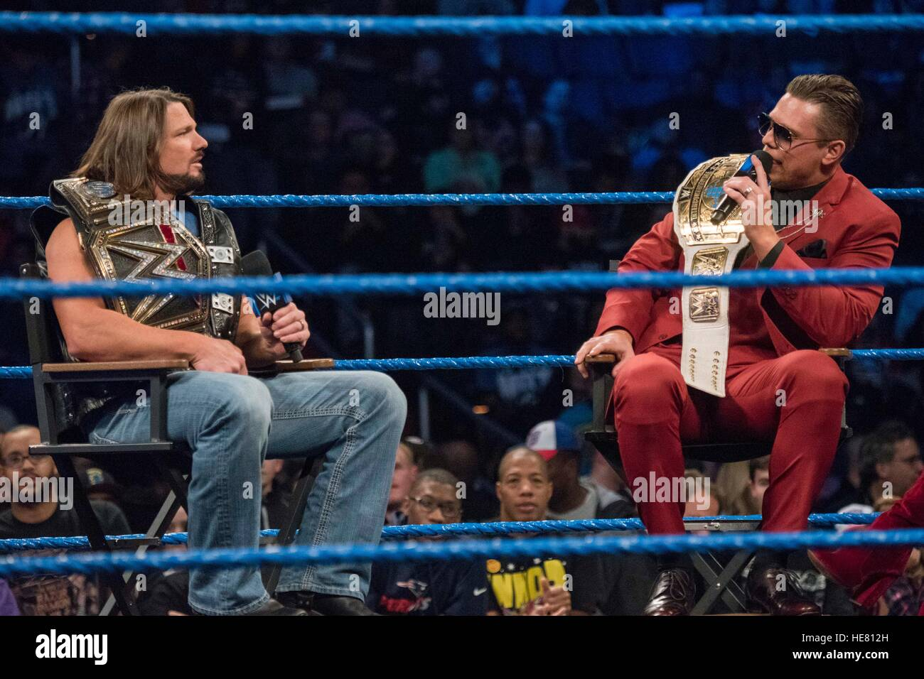 WWE performers AJ Styles (left) and The Miz talk in the ring before a wrestling match for the 14th Annual Tribute - Stock Image