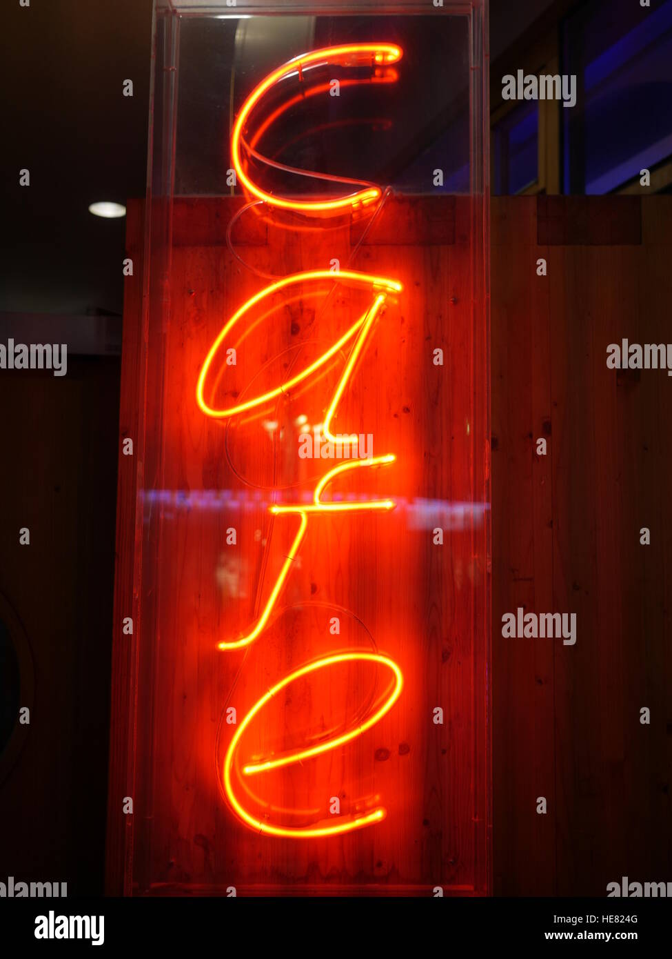 lighting letters sign cafe - Stock Image