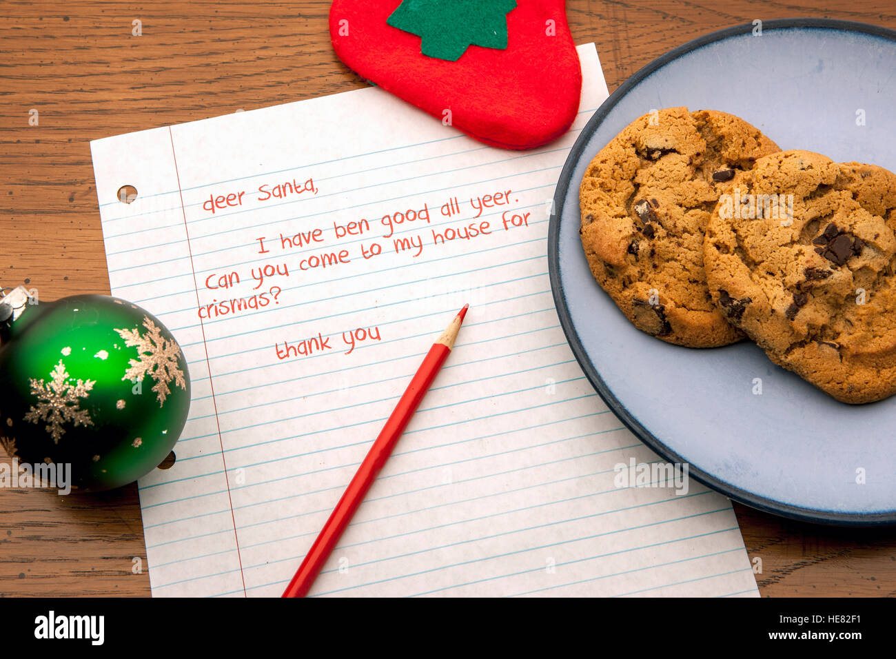 Cookies and a letter for Santa. - Stock Image