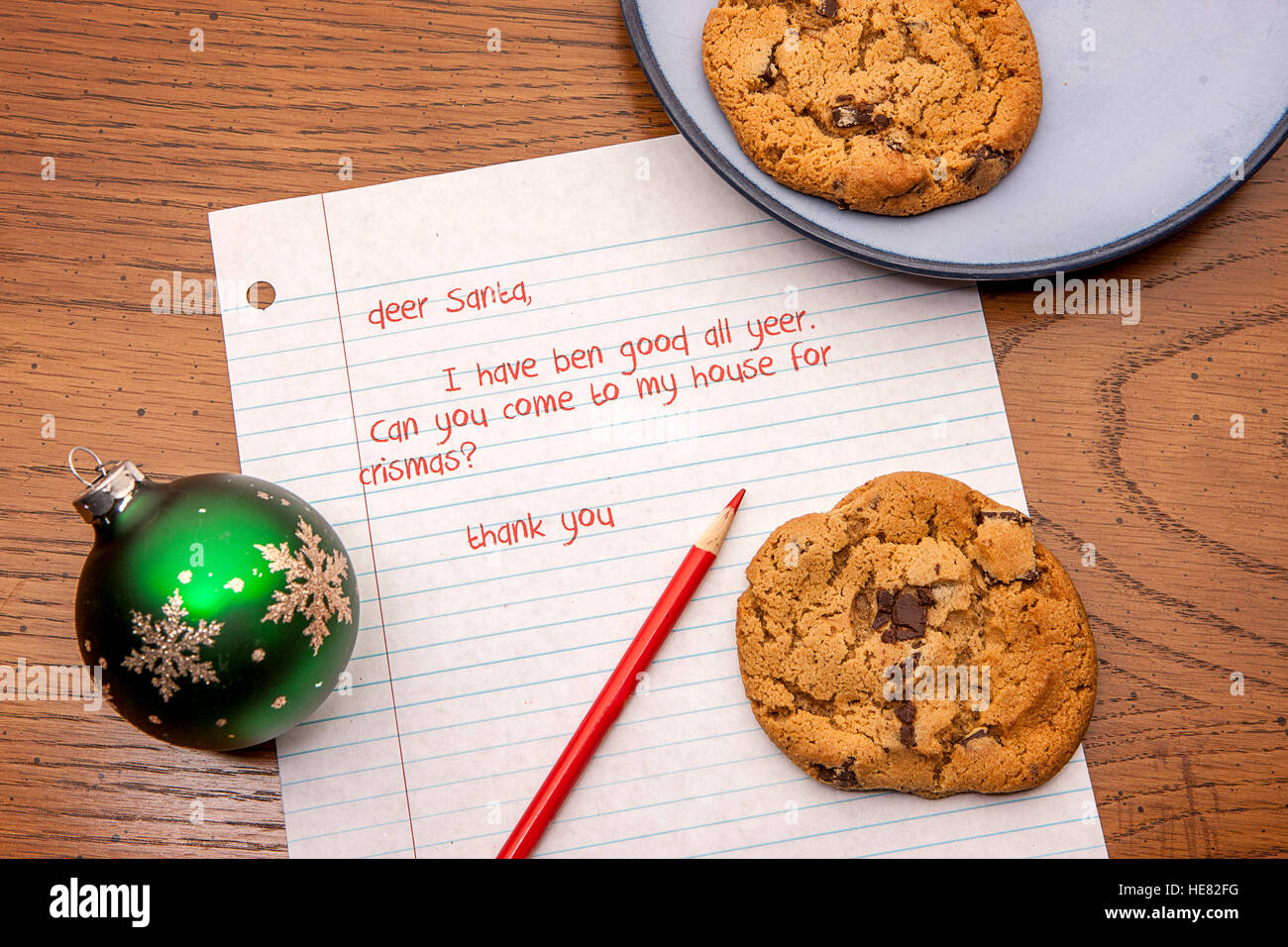 Letter to Santa with cookies. - Stock Image