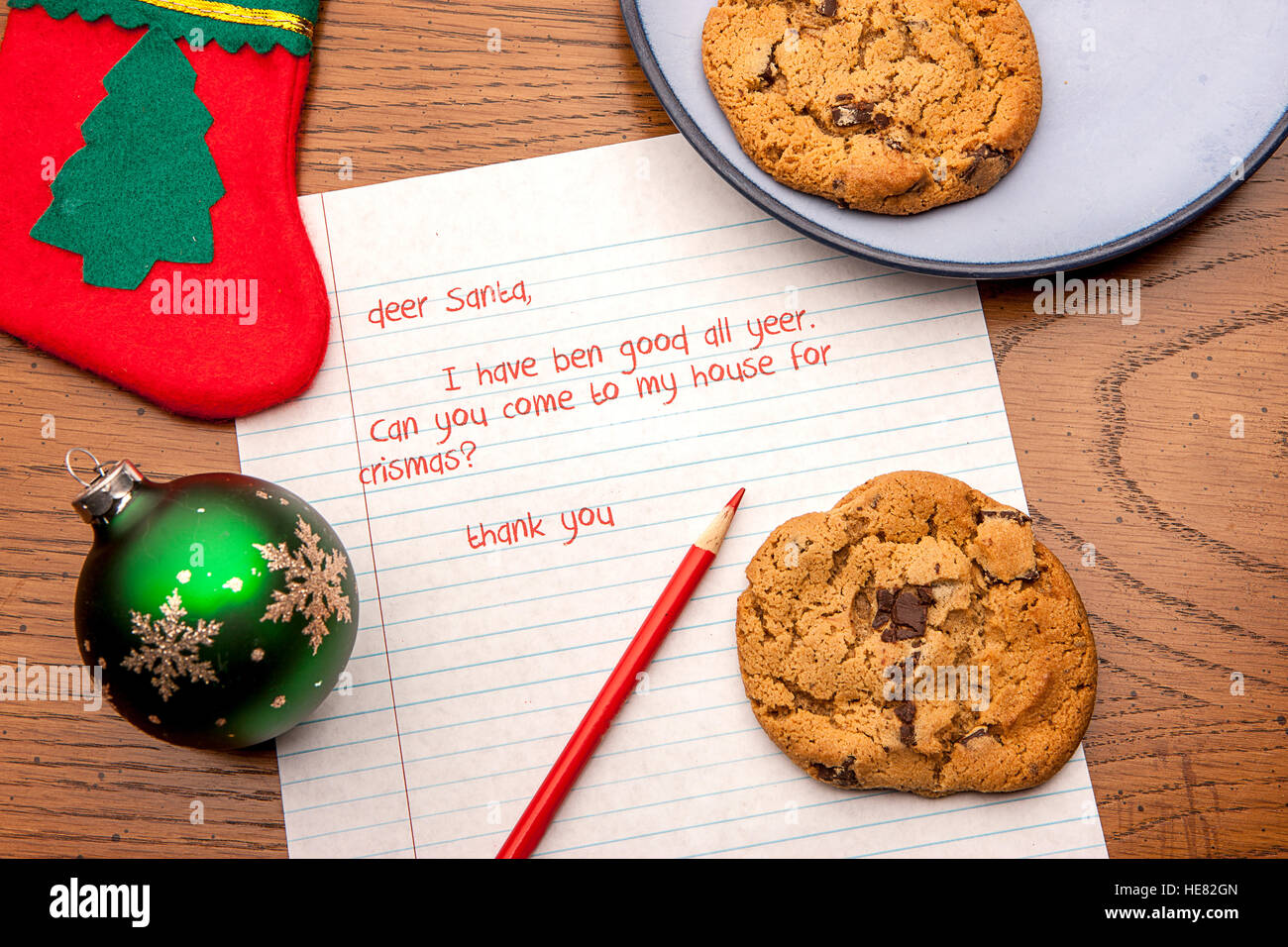 Cookies for Santa with a letter. - Stock Image