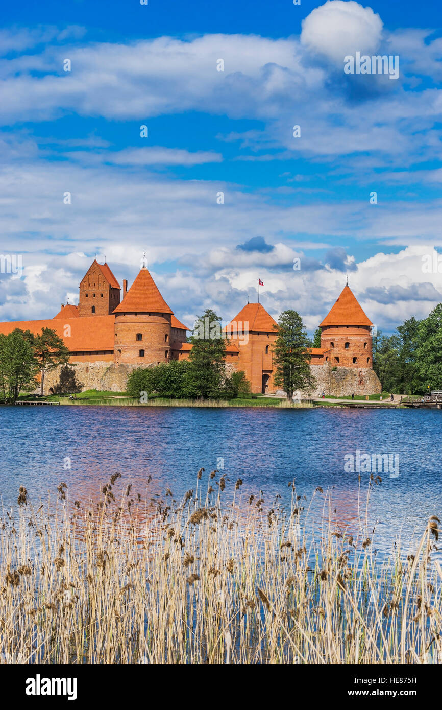 Trakai Island Castle was built in the 14th century and is situated close to Vilnius, Lithuania, Baltic States, Europe - Stock Image