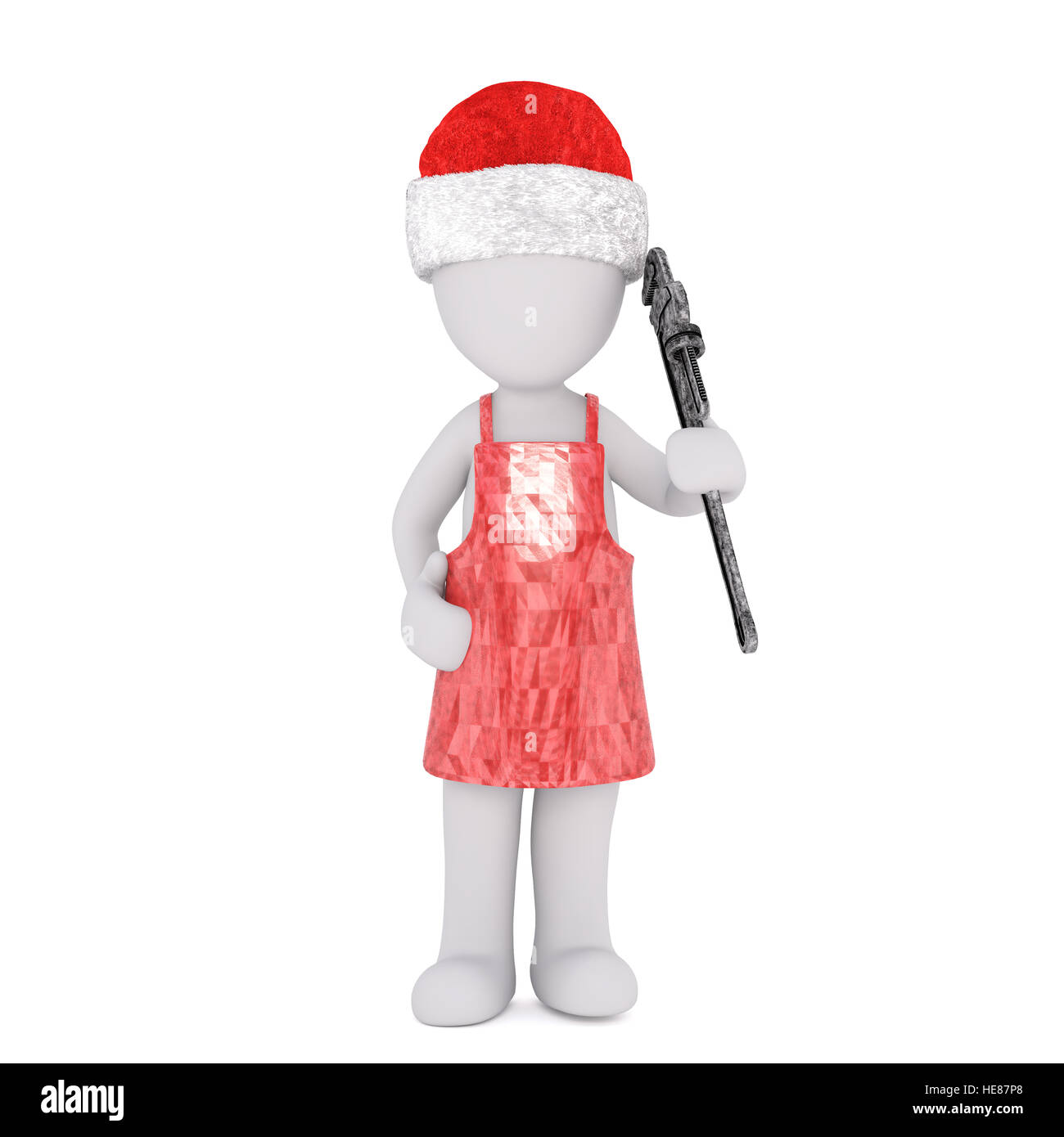 Full body 3d toon in kitchen apron and Santa hat with wrench, white ...