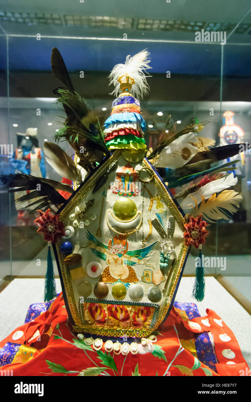 Lhasa: Tibet Museum; Hat that belonged to Songsten Gampo, the Tibetan ruler from 630 to 649, Tibet, China - Stock Image