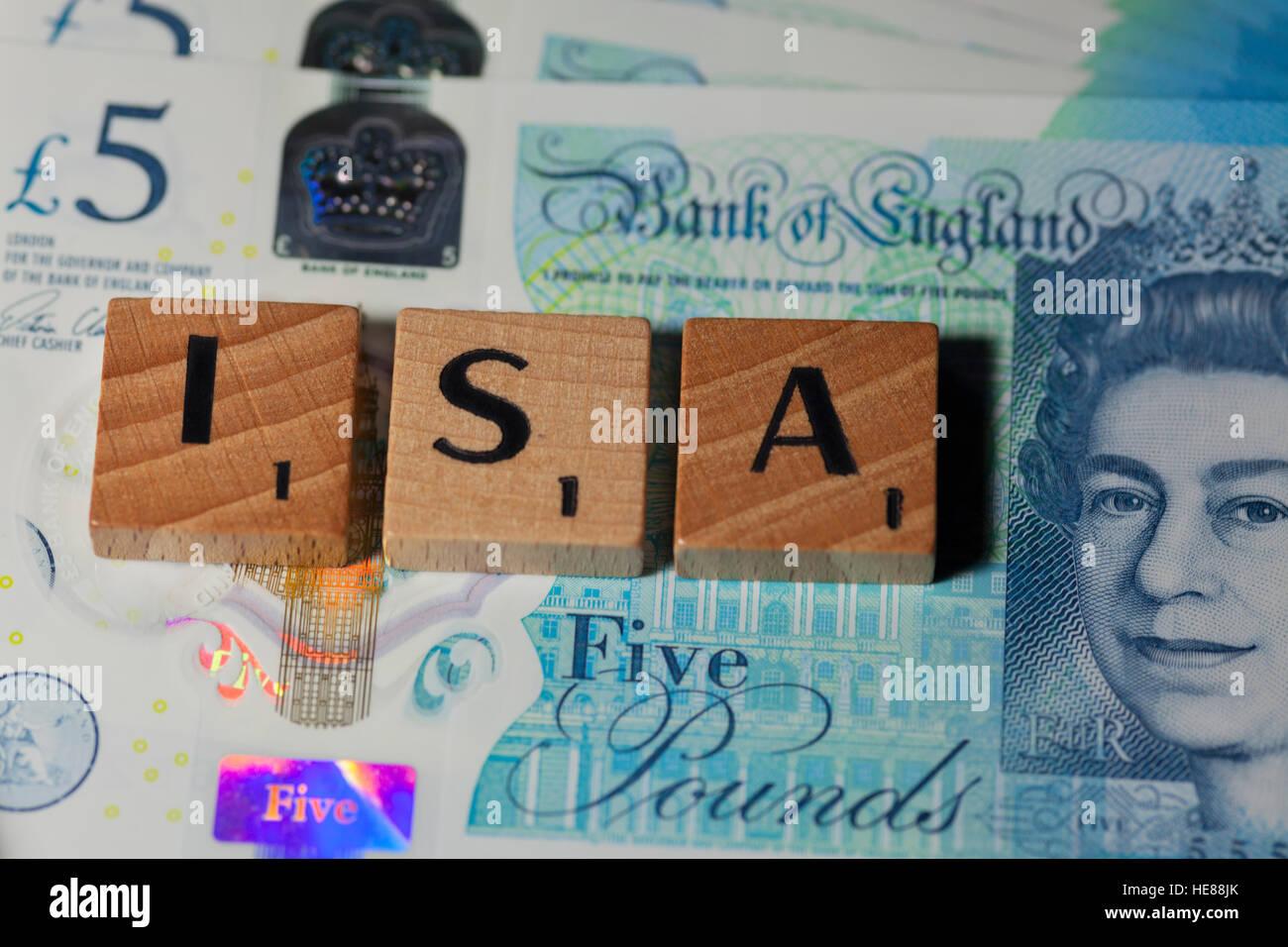 Cash isa tax free savings - Stock Image