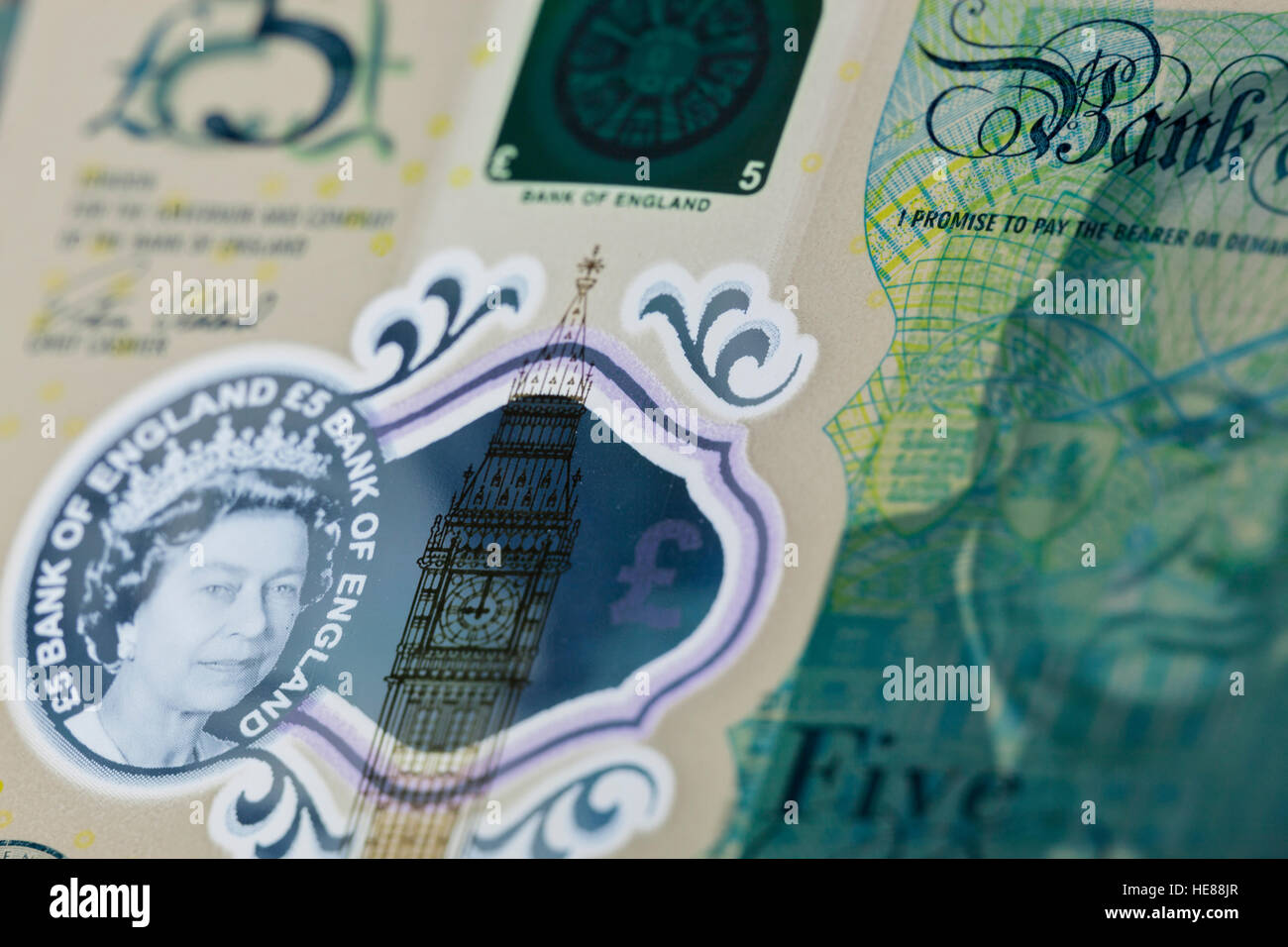 New polymer five pound note featuring Winston Churchill - Stock Image