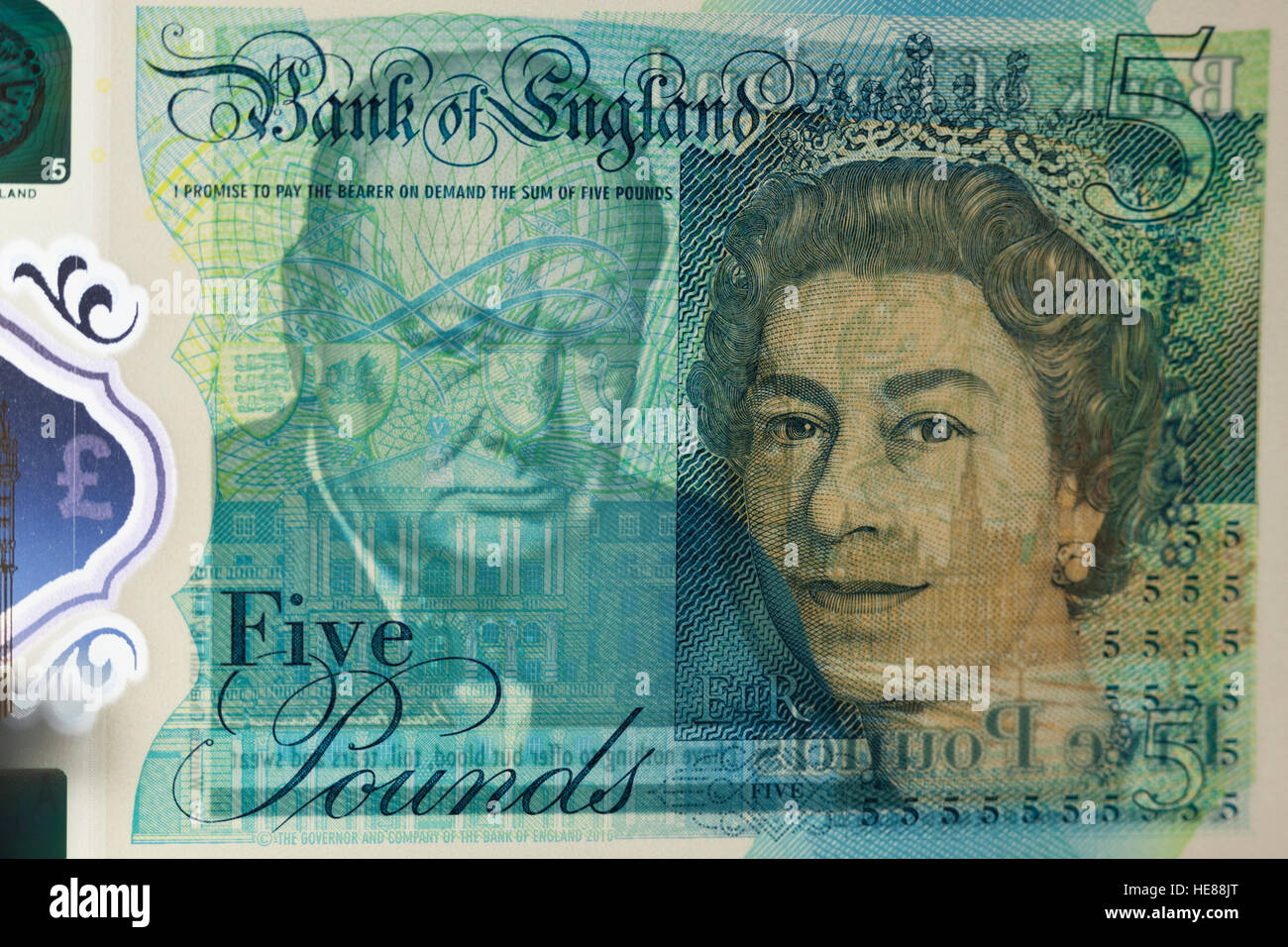 New polymer five pound note with Winston Churchill - Stock Image
