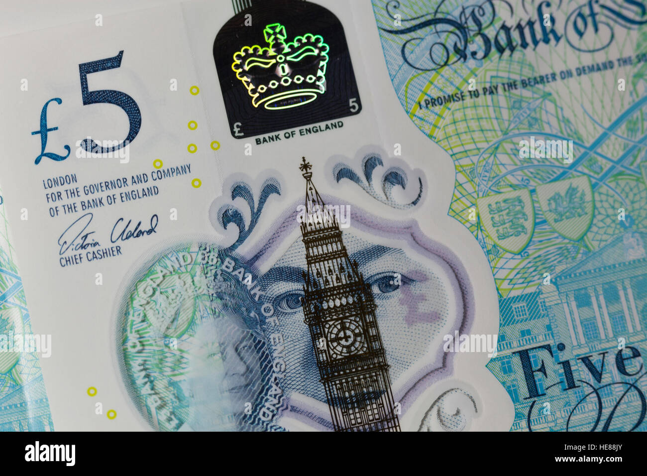 New polymer five pound note - Stock Image