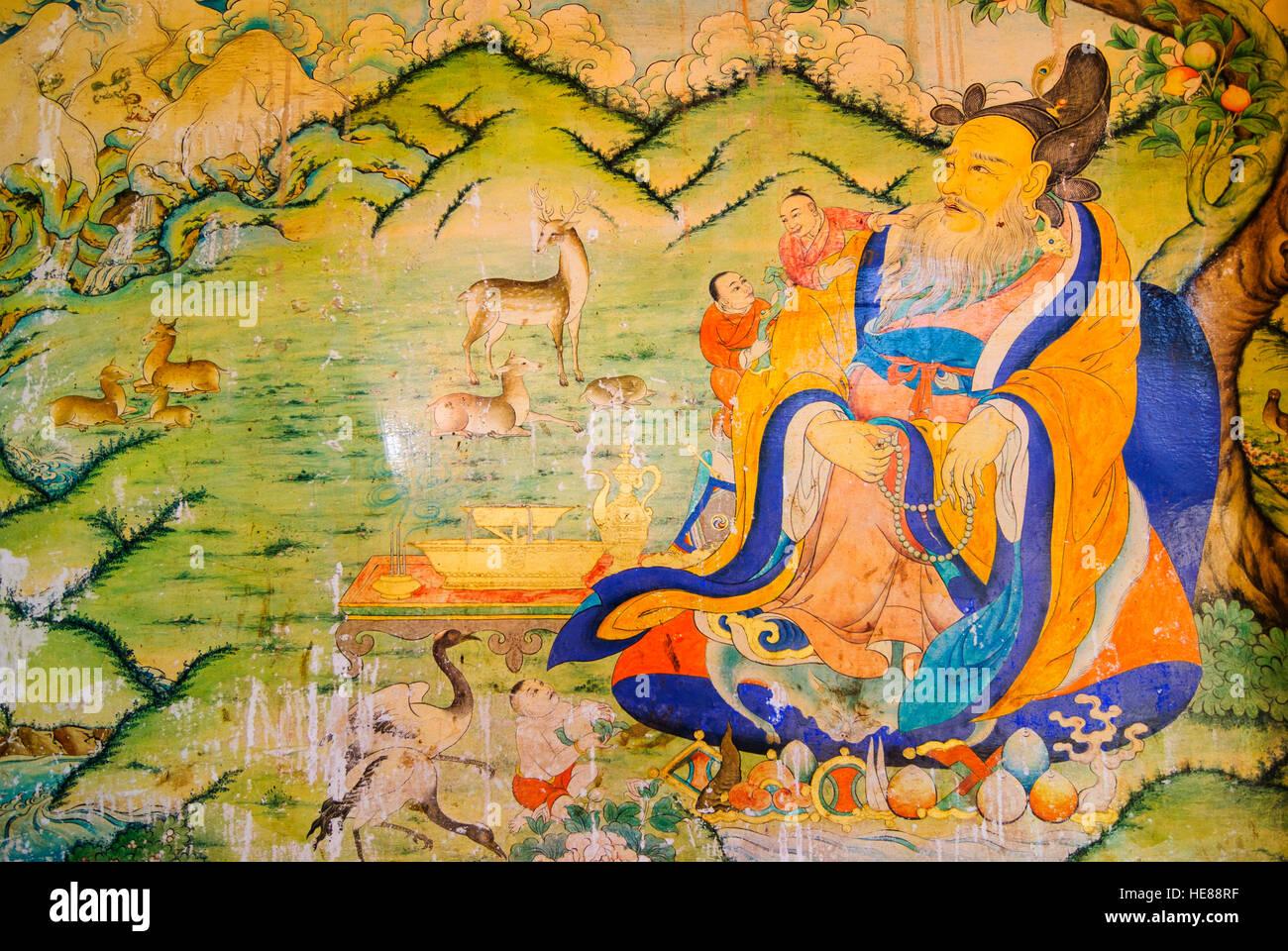 Wall Painting Monastery Tibet Stock Photos & Wall Painting Monastery ...