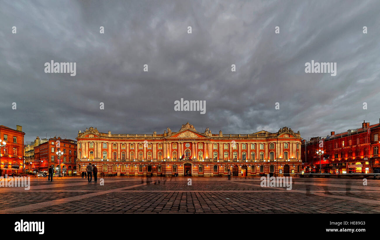 City Hall with a cloudy sky, Toulouse, Haute-Garonne, France - Stock Image