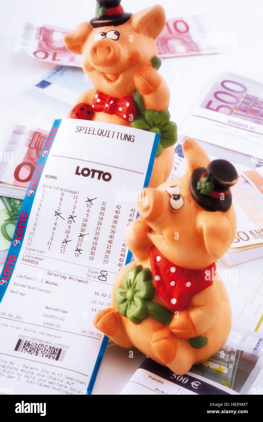 Pigs, lucky charms, sitting on euro bills with a lottery ticket Stock Photo
