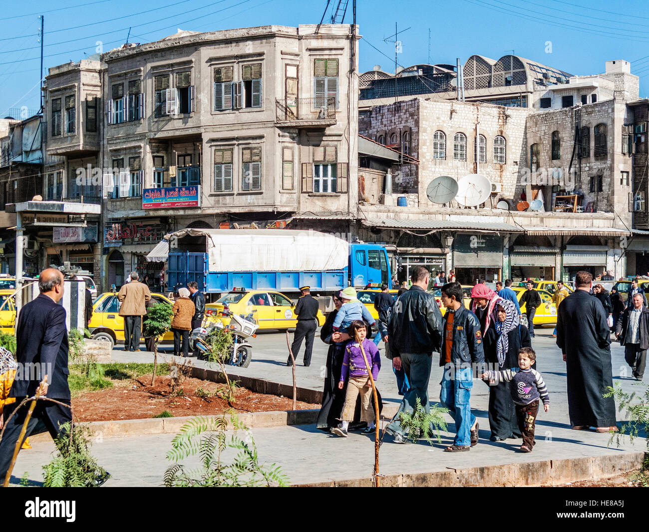 street view in central old aleppo city in syria Stock Photo