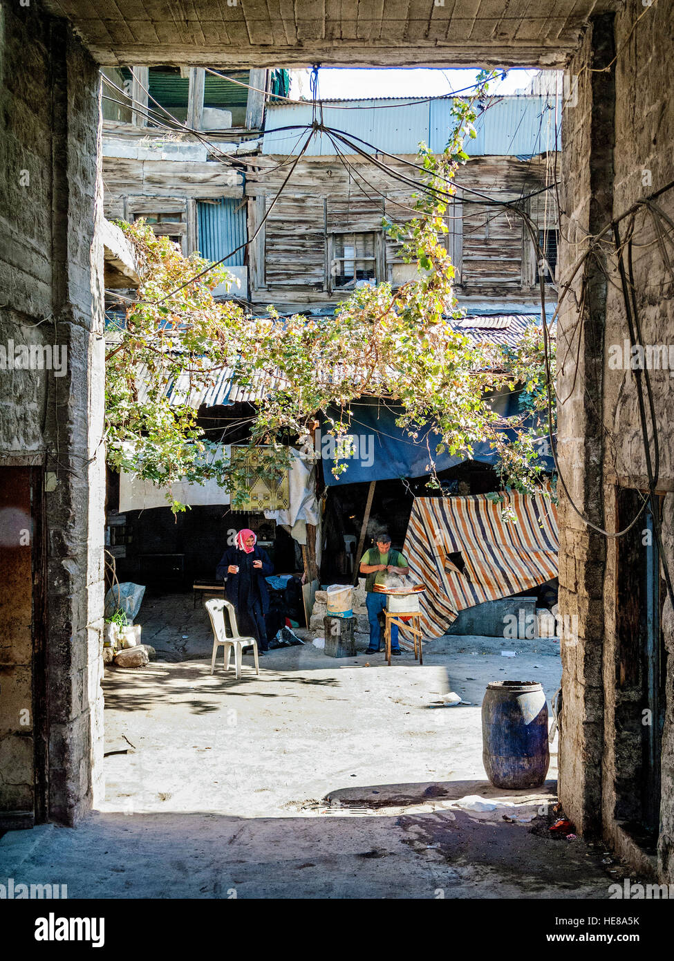 street view in central old damascus city in syria Stock Photo