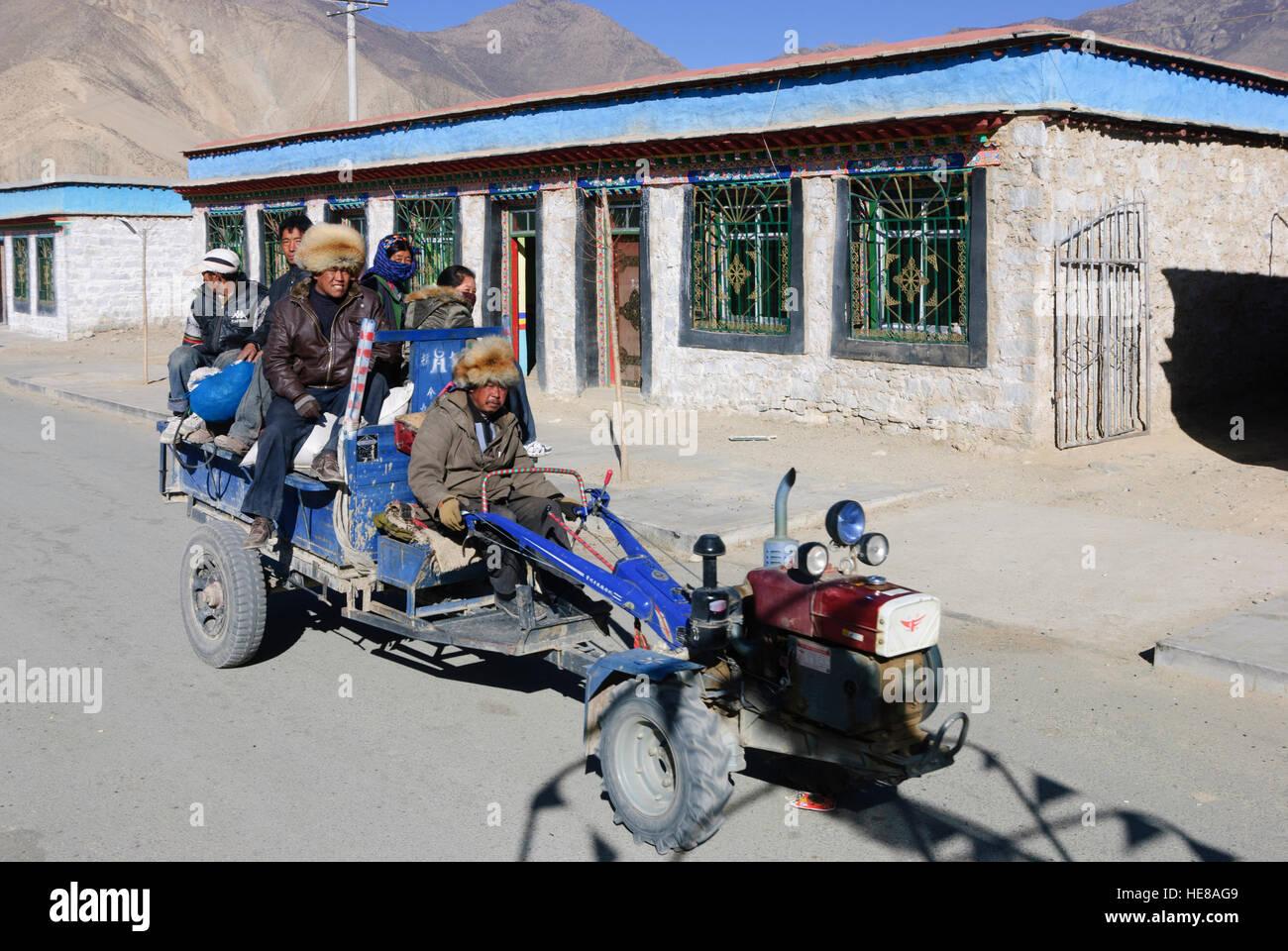 Samye: Tractor, Tibetan, Tibetans, Tibet, China - Stock Image