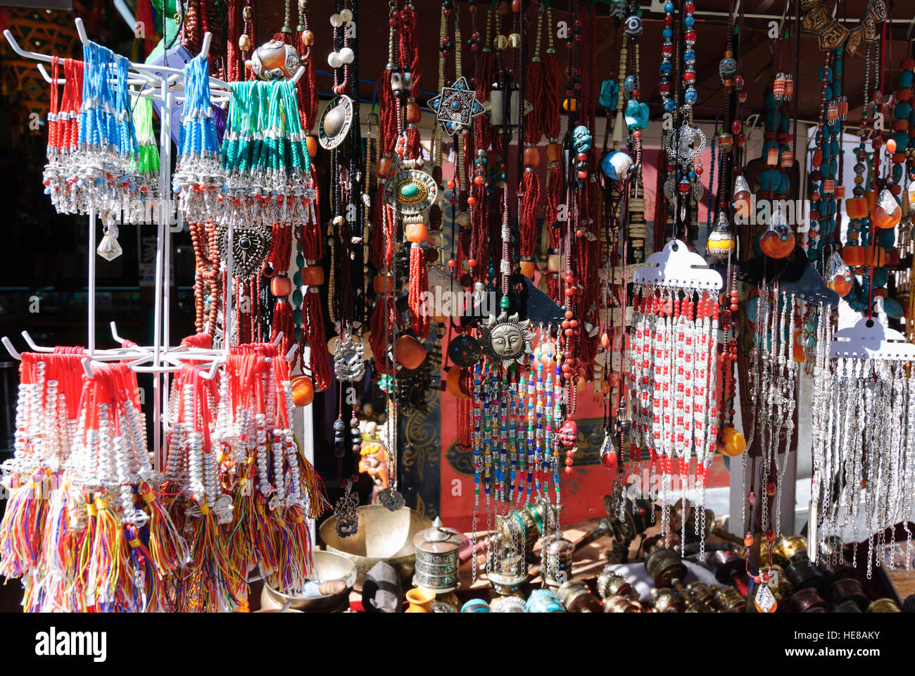 Lhasa: Barkhor ('Middle Circulation Path' around the Jokhang Temple) in the Tibetan Old Town; Sales stand - Stock Image