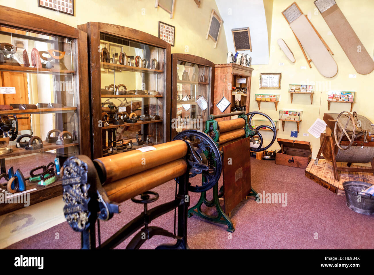 The museum of exhibition about the history of washing and ironing, Czech Republic - Stock Image