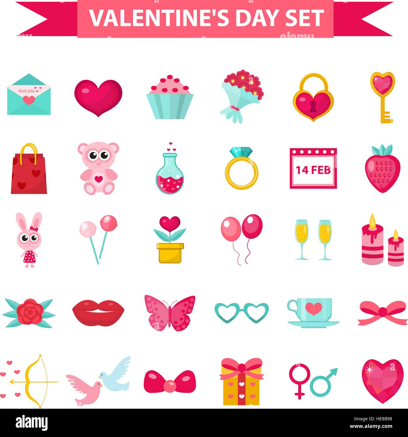 Valentines Day Icon Set Flat Style Love Romance And Dating