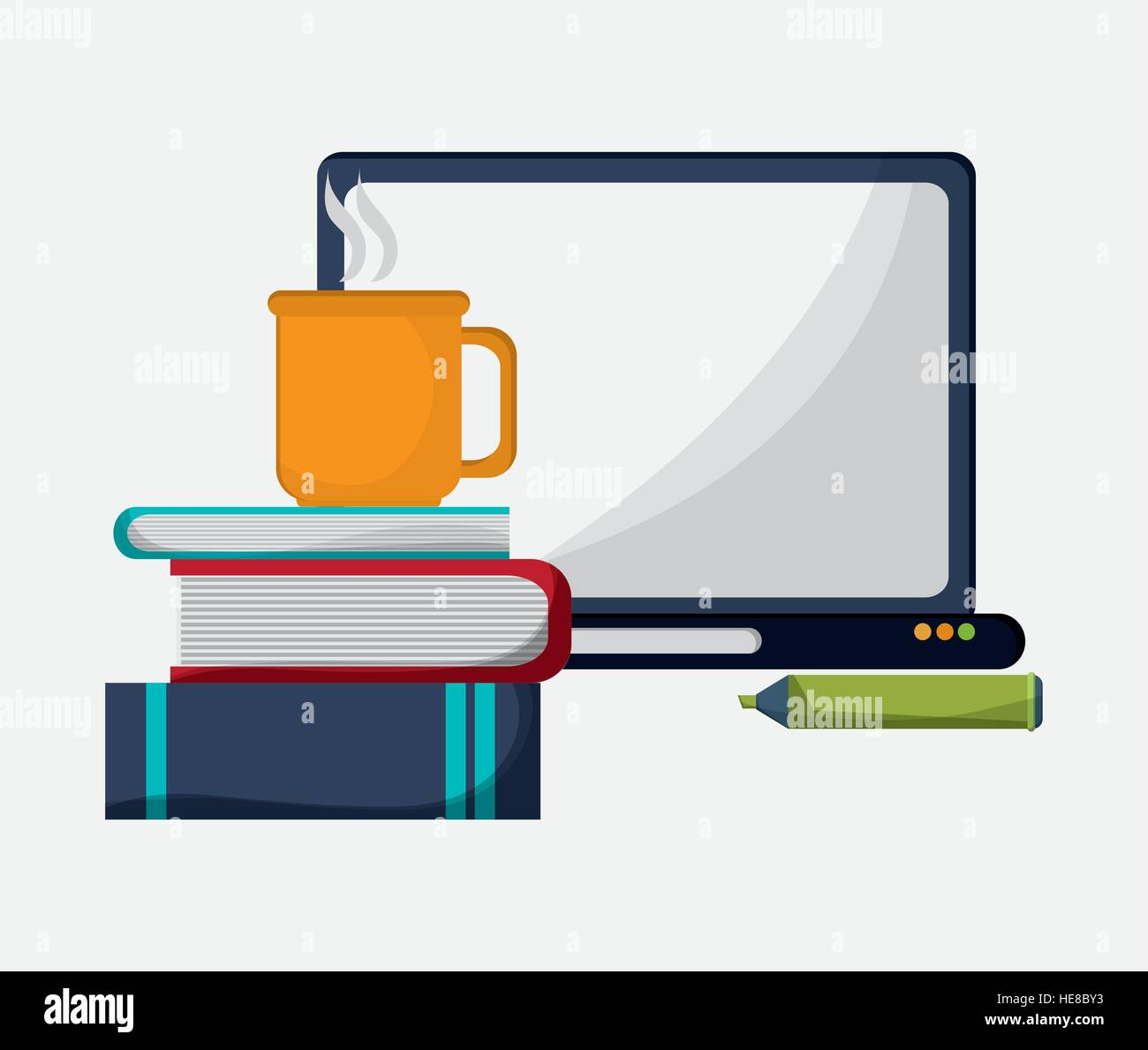 computer books pencil and cup coffee Stock Vector Art & Illustration