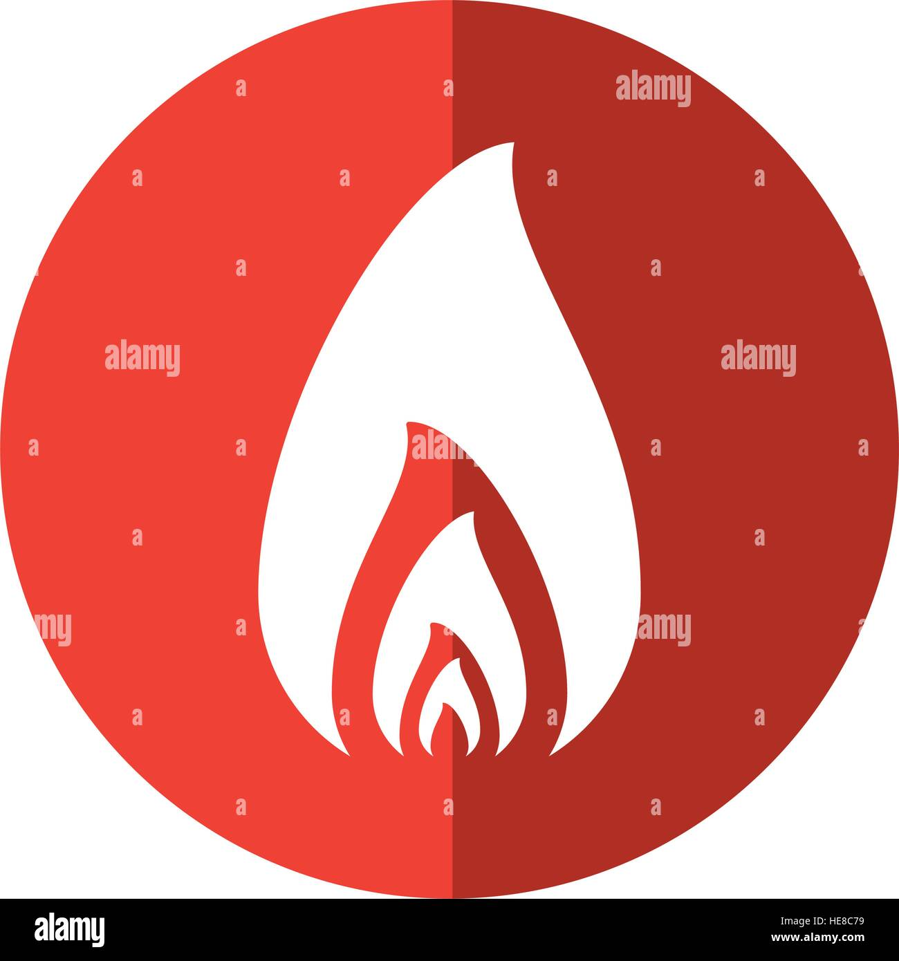 fire flame burning hot design red circle Stock Vector