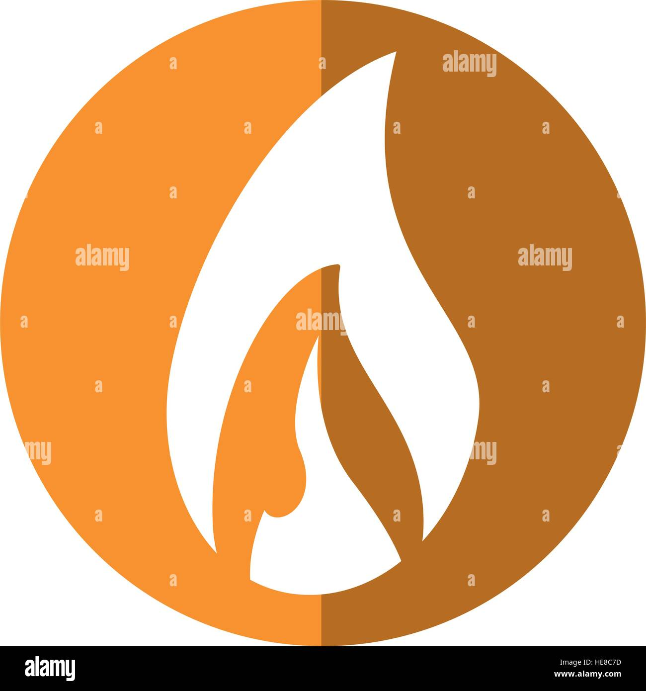 flame fire glowing temperature hot yellow circle - Stock Image