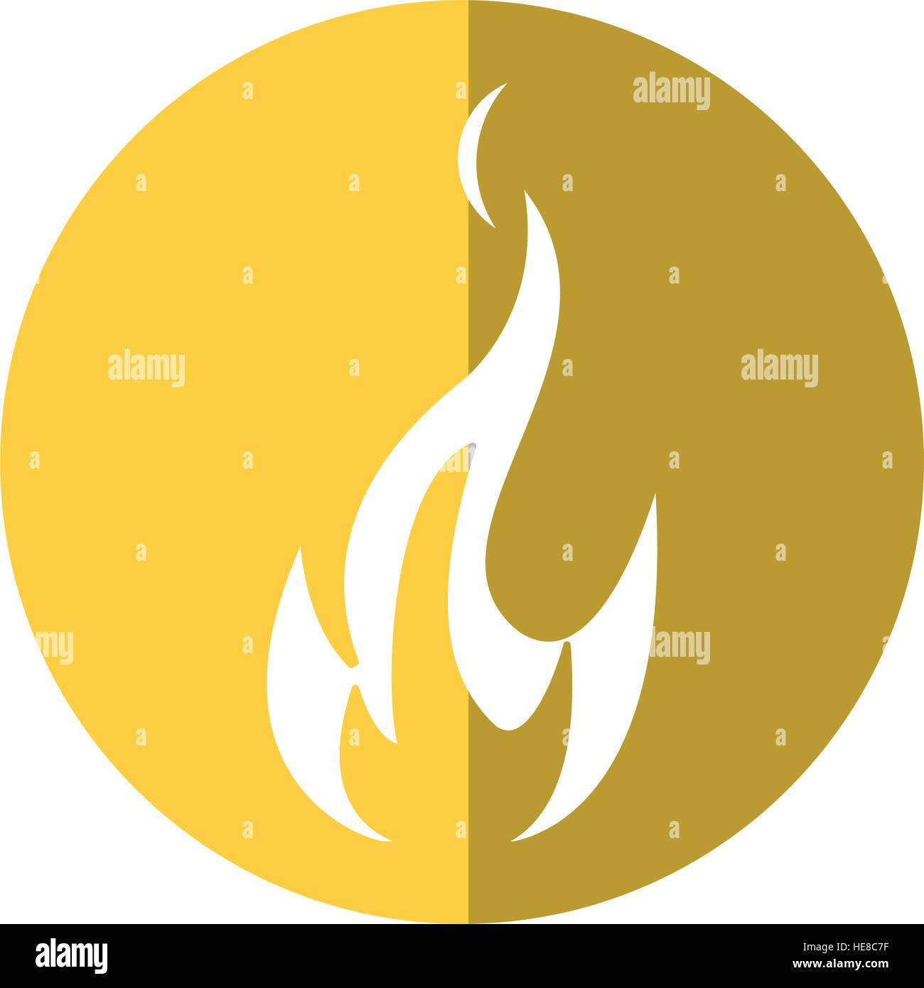 fire flame bright danger icon yellow circle - Stock Image