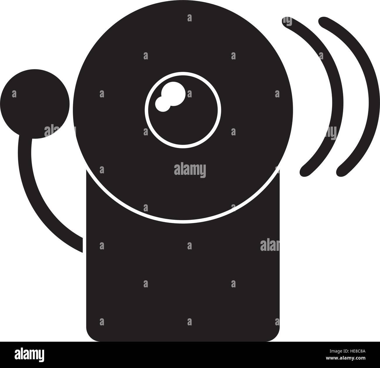 silhouette alarm fire emergency alert icon - Stock Image