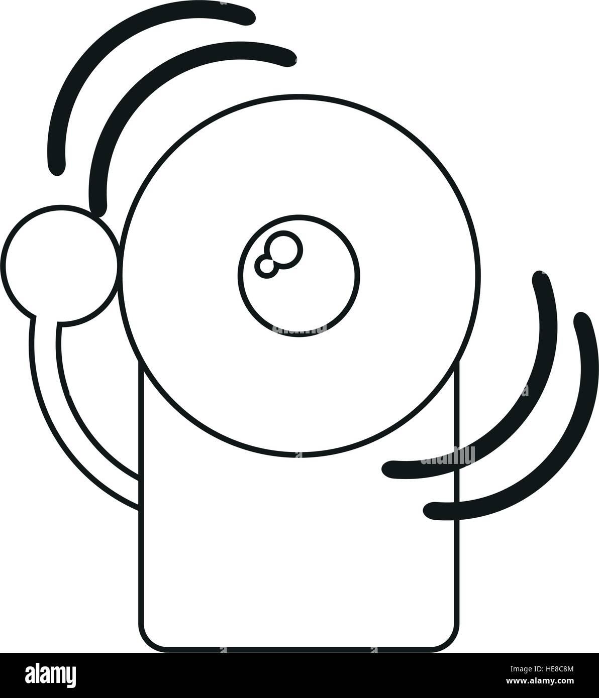 alarm fire emergency alert icon line - Stock Image
