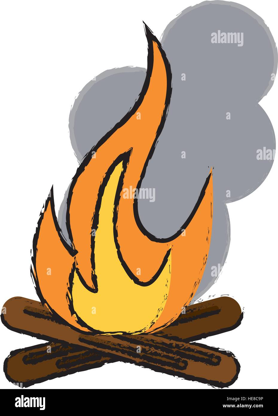 drawing campfire woods camping Stock Vector