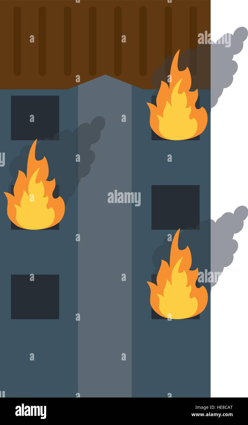 fire building residential emergency - Stock Vector