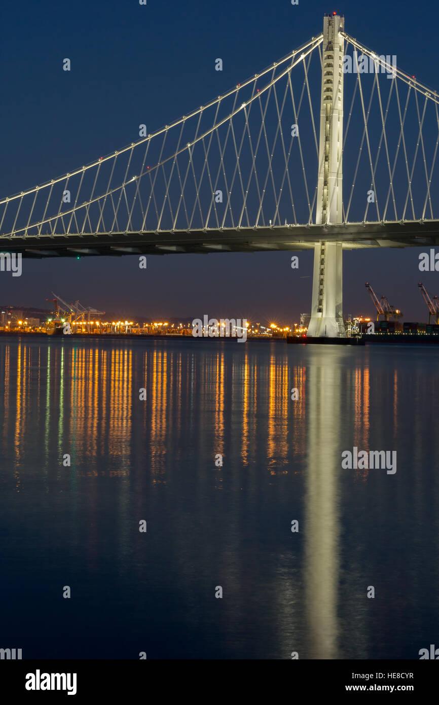 The New San Francisco's Bay Bridge East Wing at Night - Stock Image