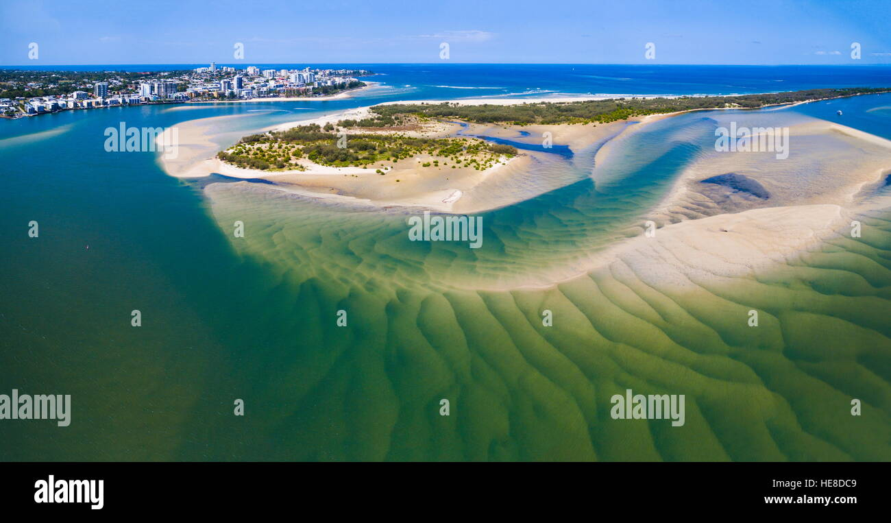 Aerial image from drone of Pumicestone Passage, Bribie Island, and Caloundra. The sandbars exhibit interesting patterns. - Stock Image