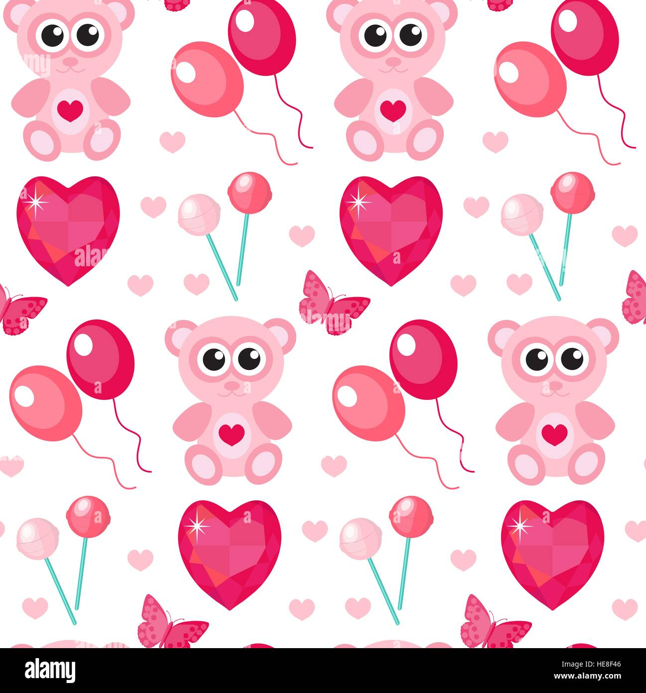 Cute Seamless Pattern Valentines Day With Teddy Bear Balls Hearts