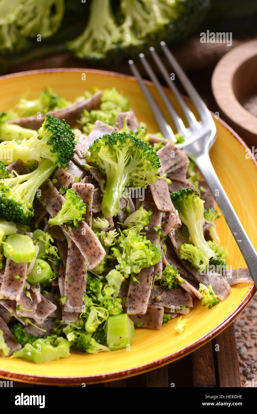 pizzoccheri with broccoli - traditional recipe of Italian cuisine - Stock Image